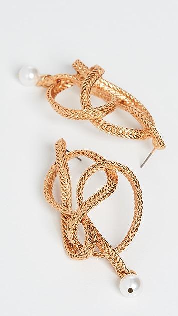 Oscar de la Renta Braided Chain & Pearl Earrings