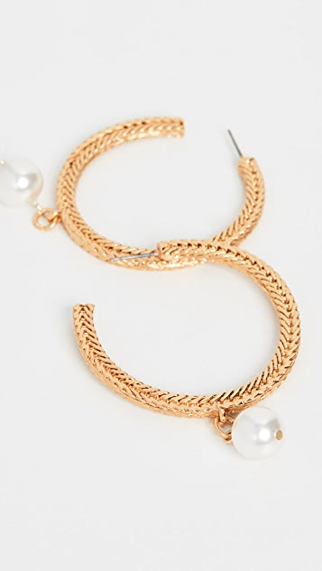 Oscar de la Renta Braided Chain Hoops