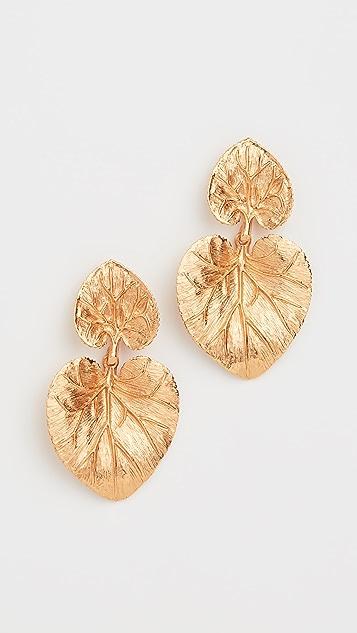 Oscar de la Renta Eucalyptus Leaf Earrings