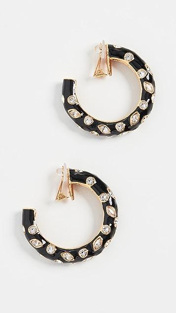 Oscar de la Renta 大号镶嵌水晶金属圈式耳环