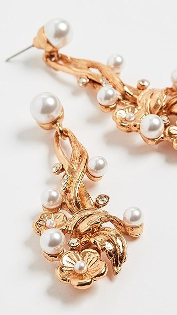 Oscar de la Renta Flower & Imitation Pearl  Earrings