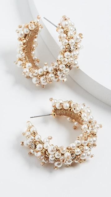Oscar de la Renta 小号珠饰簇状圈式耳环