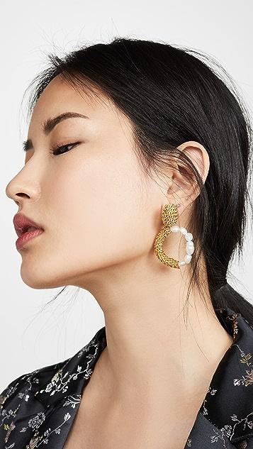 Oscar de la Renta 链条人造珍珠圈式耳环