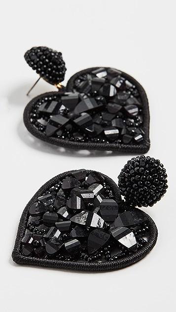 Oscar de la Renta Embellished Heart Earrings