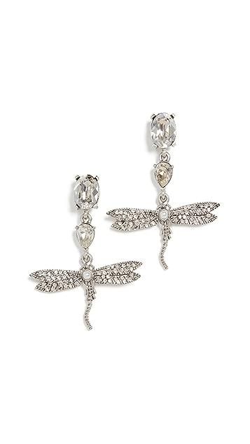 OscardelaRenta Серьги-капли Dragonfly с кристаллами и паве