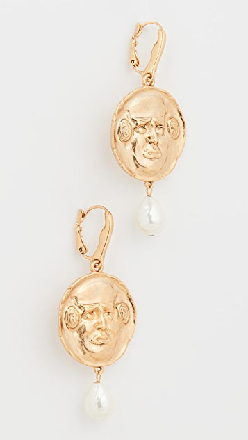 Oscar de la Renta Pearl Mask Earrings
