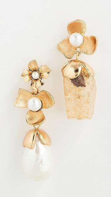 Oscar de la Renta 石英水晶和施华洛世奇珍珠花朵耳环