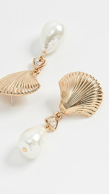 Oscar de la Renta 扇贝饰边贝壳和人造珍珠耳环