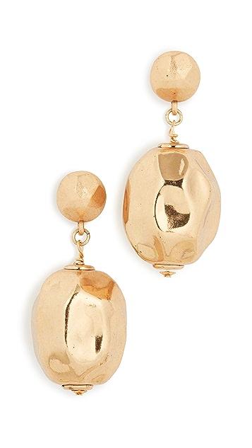 Oscar de la Renta 椭圆形锤制球形耳环