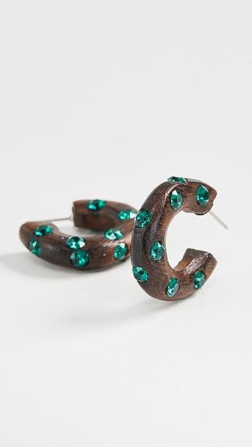 Oscar de la Renta 小巧木质和水晶圈式耳环