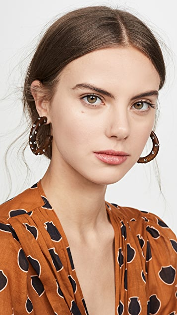 Oscar de la Renta Large Wood & Crystal Hoop Earrings