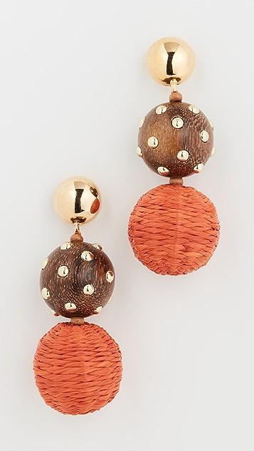 Oscar de la Renta 草编和木质球形耳环
