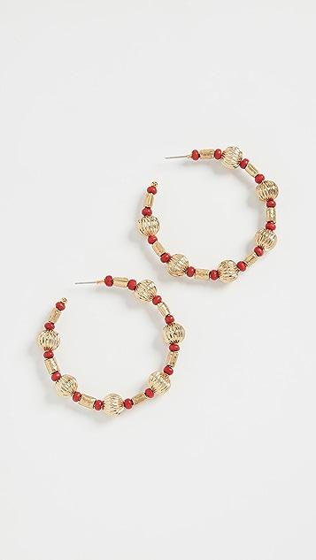 Oscar de la Renta Multi Bead Hoop Earrings