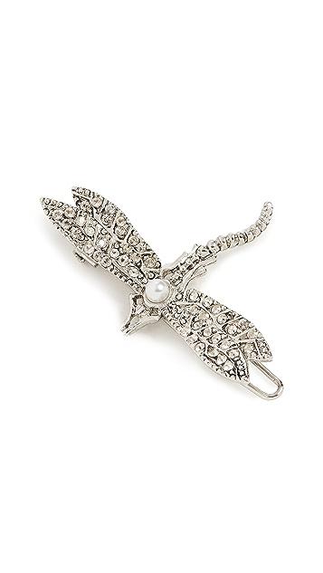 Oscar de la Renta Pave and Imitation Pearl Dragonfly Barrette
