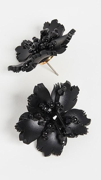 Oscar de la Renta Flower Plexi Button Earrings