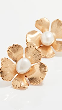 Oscar de la Renta Small Flower Clip Earrings