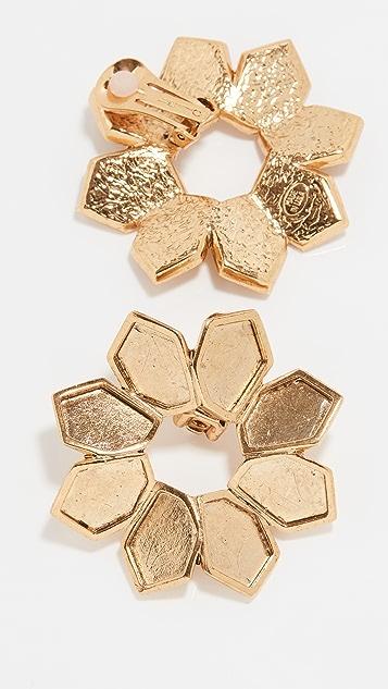 Oscar de la Renta Jagged Flowers Earrings