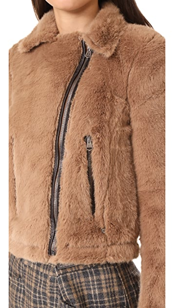 Otto d'ame Ashley Faux Fur Moto Jacket