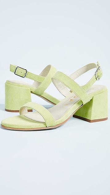Ouigal Pearl Block Heel Sandals