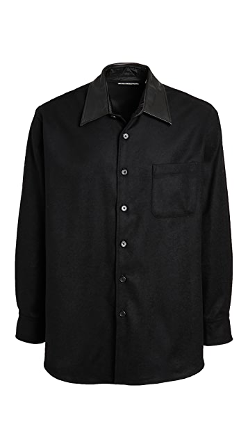 Our Legacy Melton Wool Leather Collar Shirt