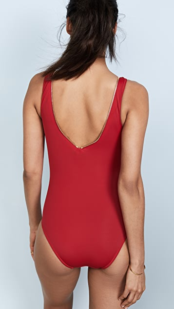 OYE Swimwear Lea V Neck One Piece with Zip Detail