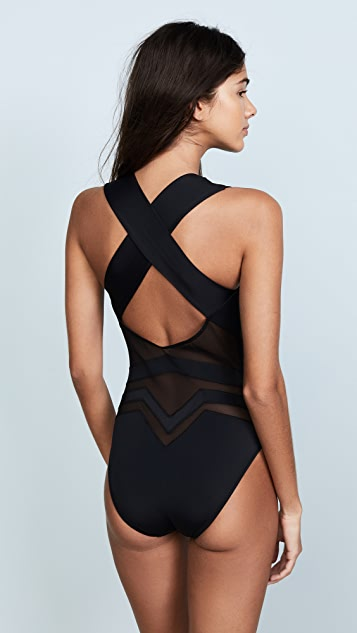 OYE Swimwear Bane Deep V One Piece