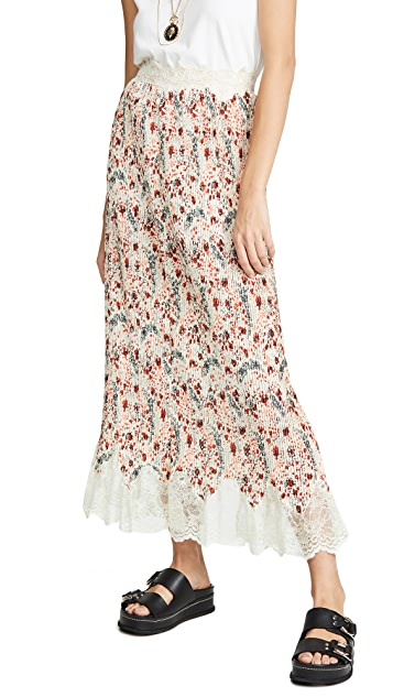 Paco Rabanne Floral Skirt with Lace Trim