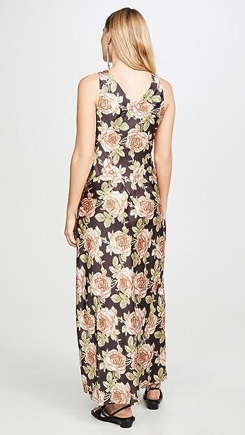Paco Rabanne Платье с V-образным вырезом и цветочным рисунком