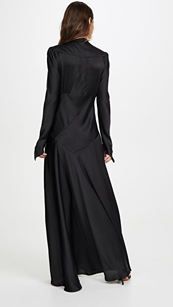 Paco Rabanne Long Sleeve Satin Dress