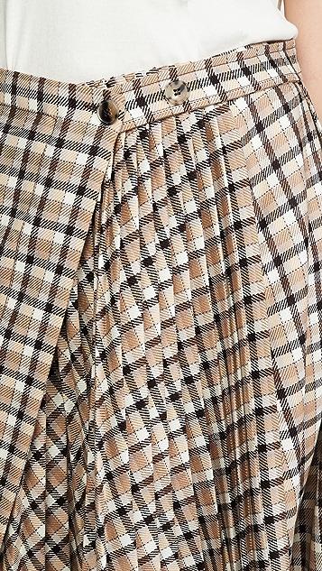 Paco Rabanne Асимметричная плиссированная юбка в клетку