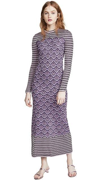 Paco Rabanne 金属色提花织物条纹和菱形花纹连衣裙