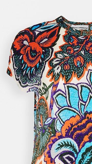 Paco Rabanne Printed Velvet Jersey Dress