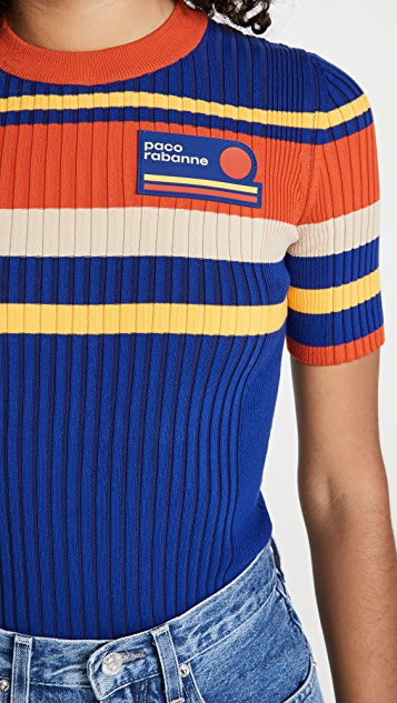 Paco Rabanne Tennis Stripes 70'S Ribbed Knit Top