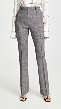 Straight Plaid Trousers
