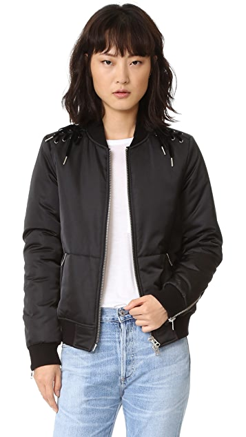 Pam & Gela Lace Up Bomber Jacket