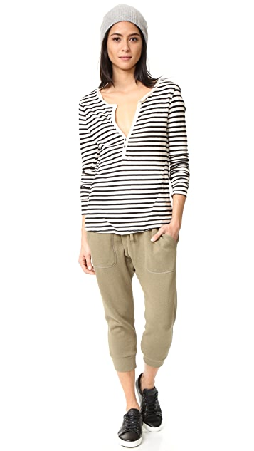 Pam & Gela Long Sleeve Stripe Henley Tee