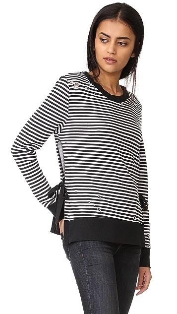 Pam & Gela Stripe Side Slit Sweatshirt