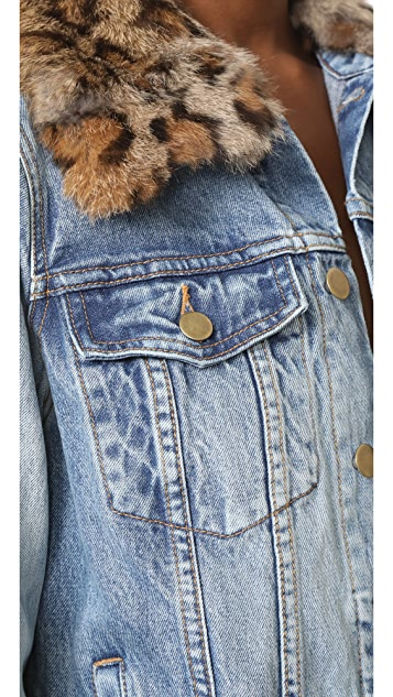 Pam & Gela Denim Jacket with Detachable Fur Collar