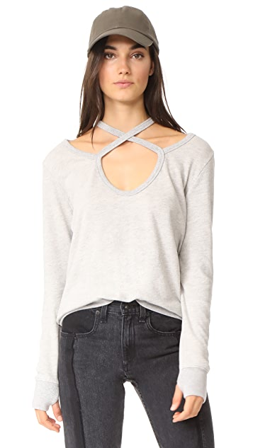 Pam & Gela Rib Cross Neck Sweatshirt