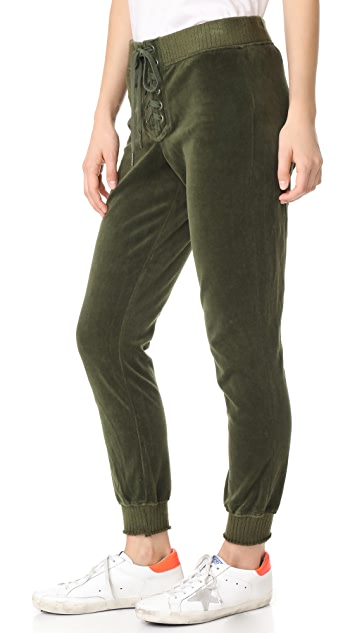 Pam & Gela Cropped Velour Lace Up Sweatpants