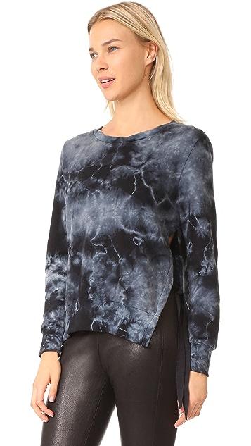 Pam & Gela Tea Stain Tie Dye Side Slit Sweatshirt