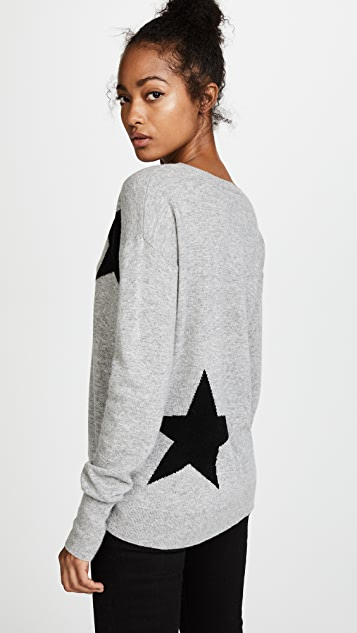 Pam & Gela Cutout Sweater with Star Intarsia