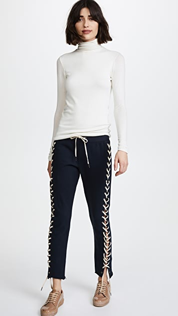 Pam & Gela Cropped Lace up Sweatpants