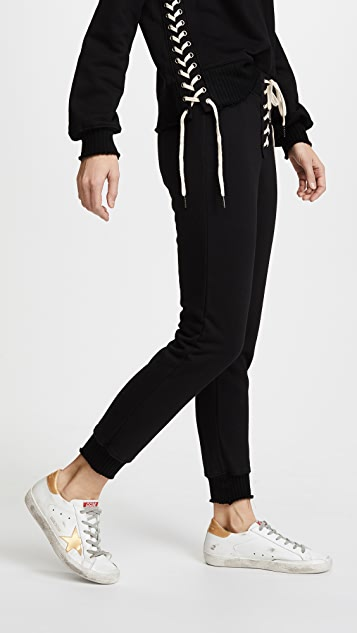 Pam & Gela Lace Front Long Rise Sweatpants
