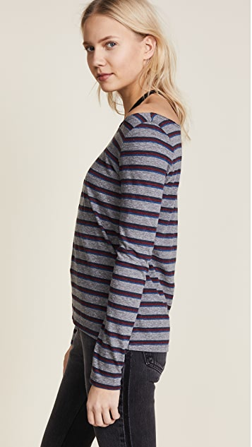 Pam & Gela Striped Long Sleeve Cutout Tee