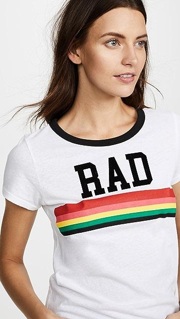 Pam & Gela White Rad Rainbow Ringer Tee