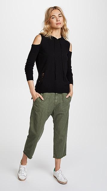 Pam & Gela Cold Shoulder Cashmere Hoodie
