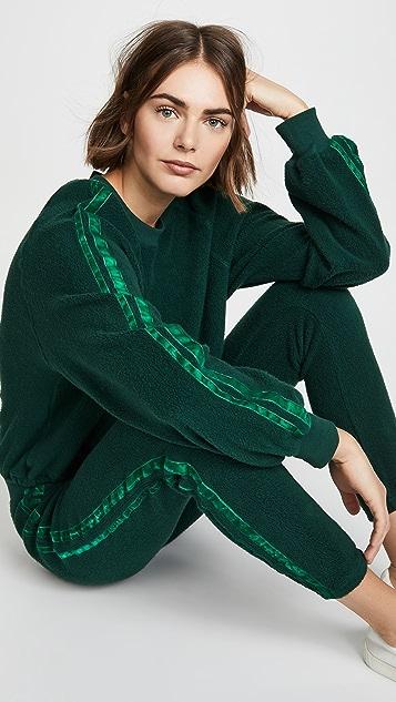 Pam & Gela Cropped Sweatshirt With Velvet Stripes