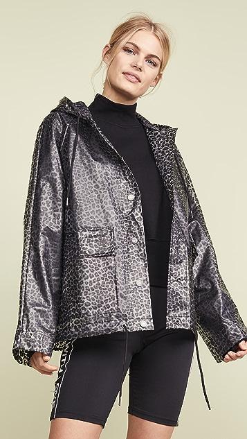 Pam & Gela Clear Raincoat - Black Leopard Print