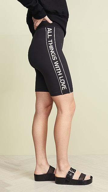 Pam & Gela 徽标运动条纹机车短裤